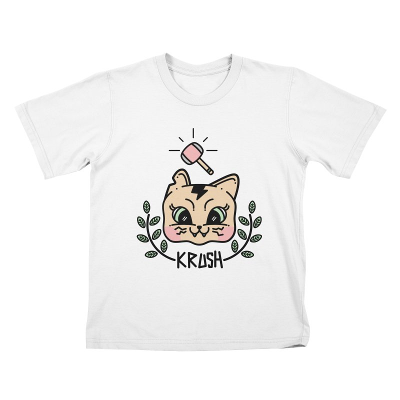 Kitty krush Kids T-Shirt by Cristóbal Urrea