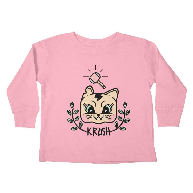 Kitty krush Kids Toddler Longsleeve T-Shirt by Cristóbal Urrea