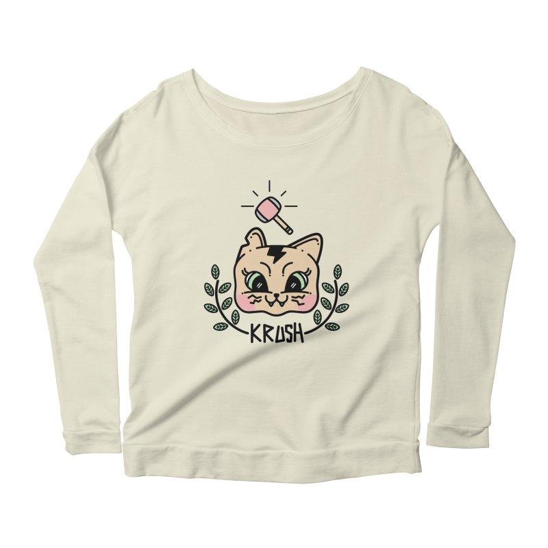 Kitty krush Women's Longsleeve Scoopneck  by 3lw's Artist Shop