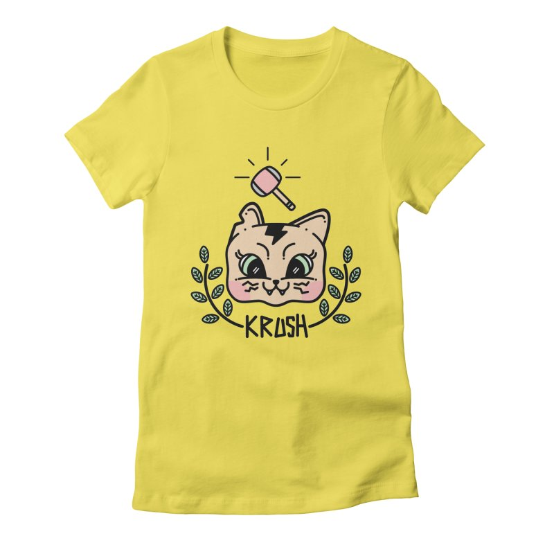 Kitty krush Women's Fitted T-Shirt by 3lw's Artist Shop