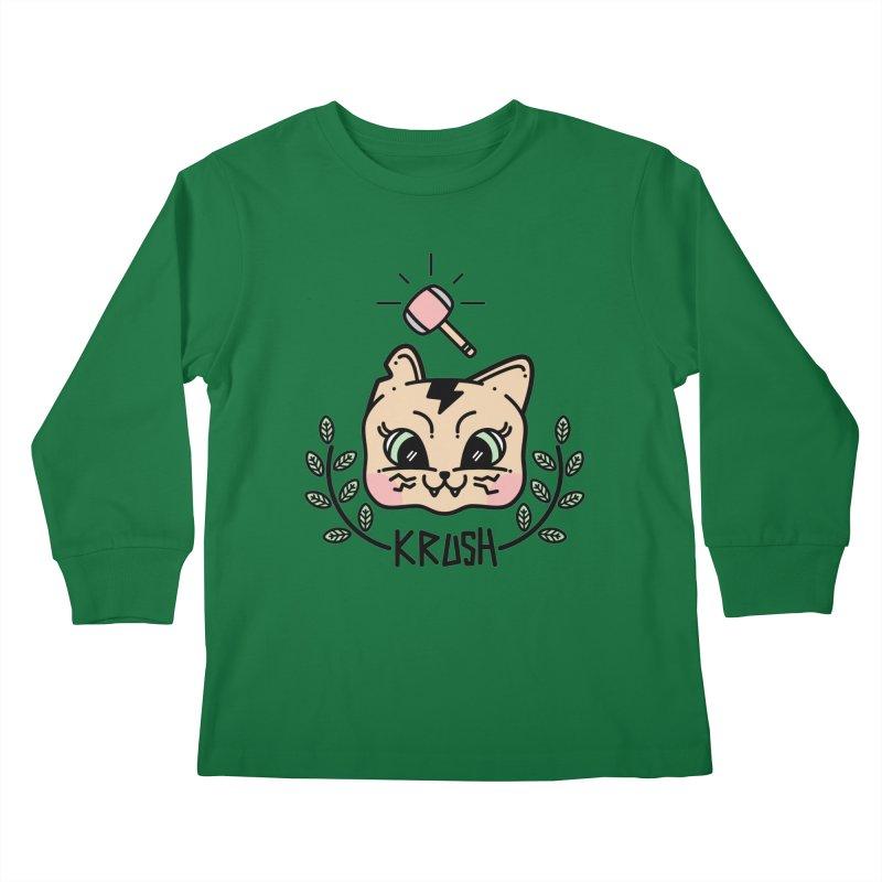 Kitty krush Kids Longsleeve T-Shirt by Cristóbal Urrea