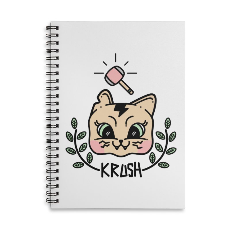 Kitty krush Accessories Lined Spiral Notebook by Cristóbal Urrea