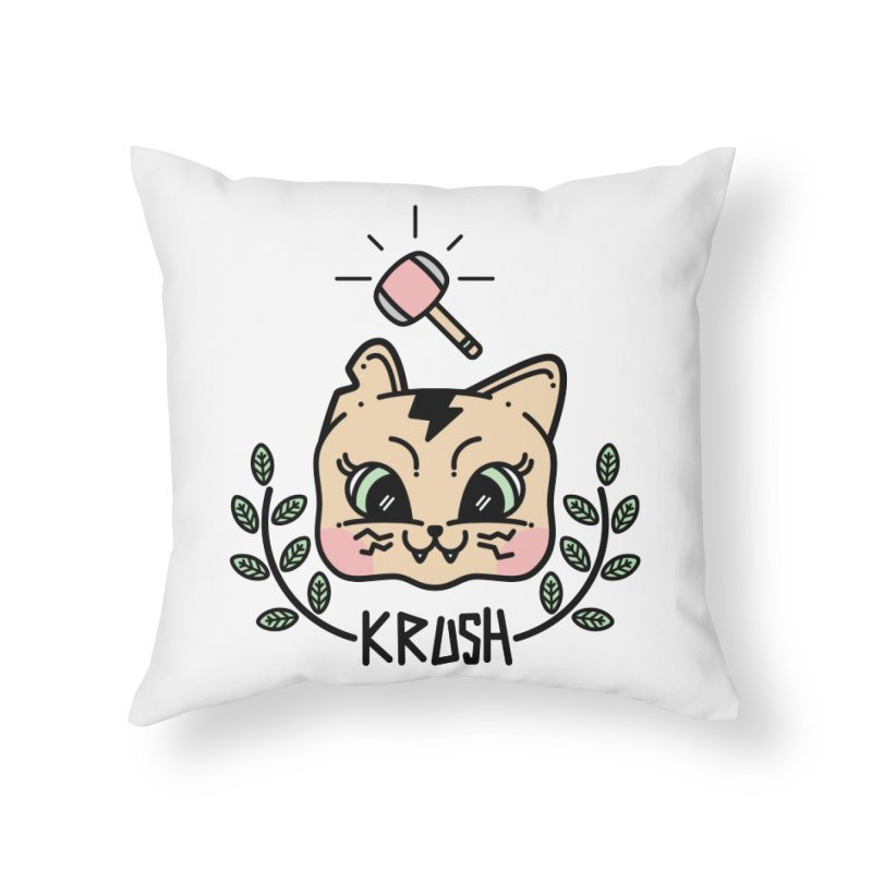 Kitty krush Home Throw Pillow by Cristóbal Urrea
