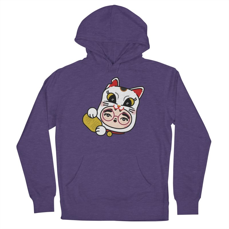 Lucky cat Men's French Terry Pullover Hoody by Cristóbal Urrea