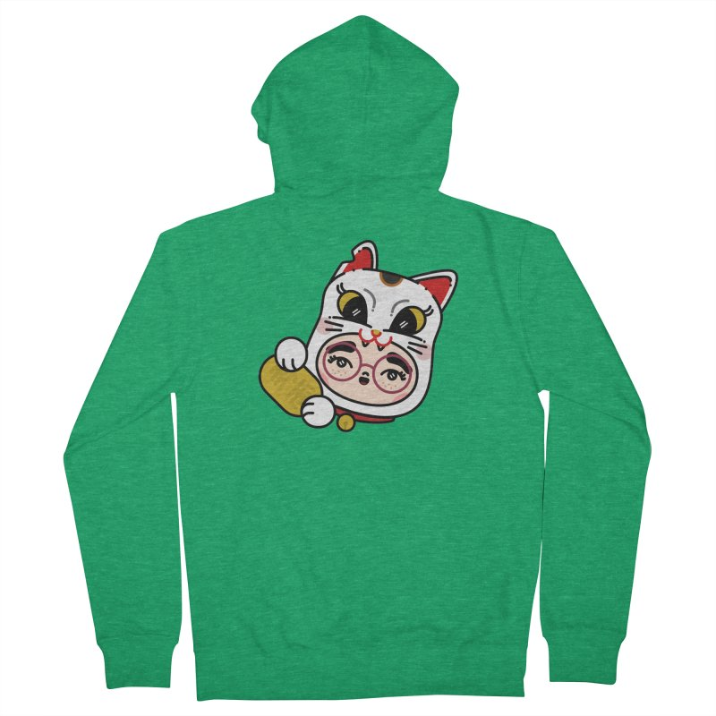 Lucky cat Women's French Terry Zip-Up Hoody by 3lw's Artist Shop