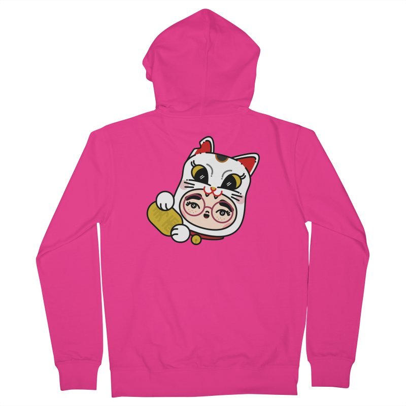 Lucky cat Men's French Terry Zip-Up Hoody by 3lw's Artist Shop
