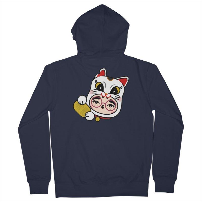 Lucky cat Men's Zip-Up Hoody by 3lw's Artist Shop