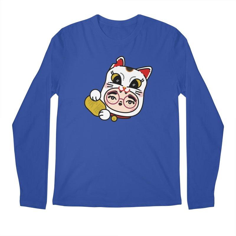 Lucky cat Men's Regular Longsleeve T-Shirt by 3lw's Artist Shop