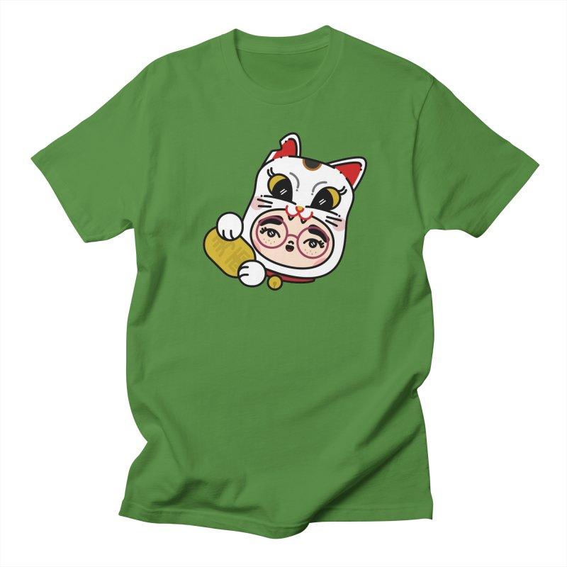 Lucky cat Men's Regular T-Shirt by Cristóbal Urrea