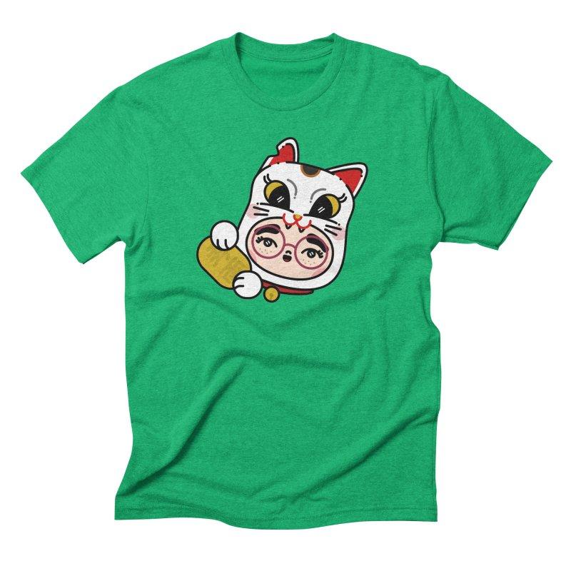 Lucky cat Men's Triblend T-Shirt by Cristóbal Urrea
