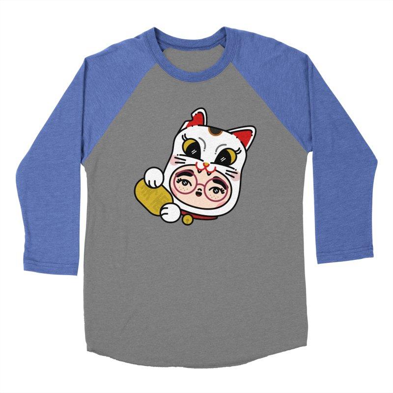 Lucky cat Women's Baseball Triblend Longsleeve T-Shirt by Cristóbal Urrea