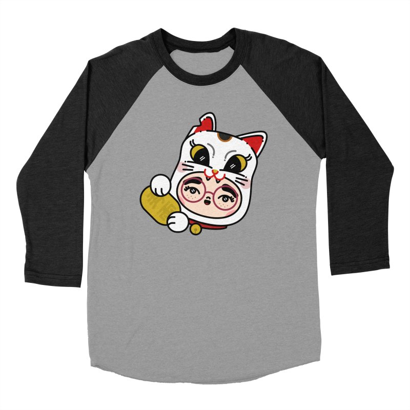 Lucky cat Women's Baseball Triblend Longsleeve T-Shirt by Cristóbal Urrea