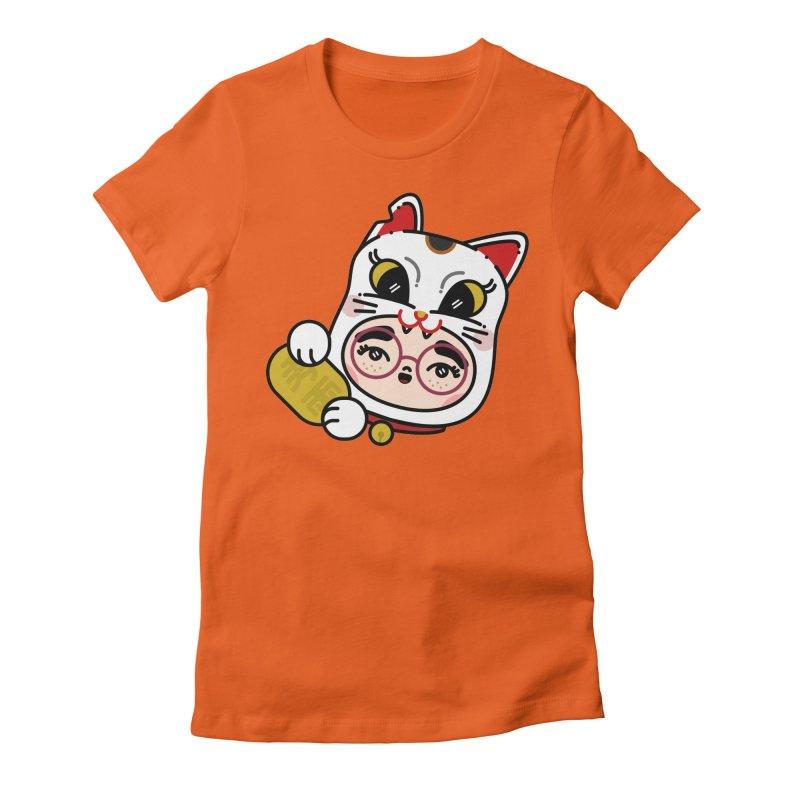 Lucky cat Women's Fitted T-Shirt by 3lw's Artist Shop