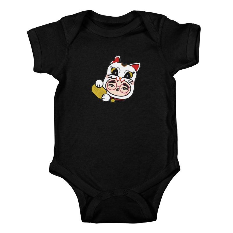 Lucky cat Kids Baby Bodysuit by 3lw's Artist Shop