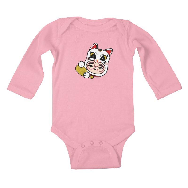 Lucky cat Kids Baby Longsleeve Bodysuit by 3lw's Artist Shop
