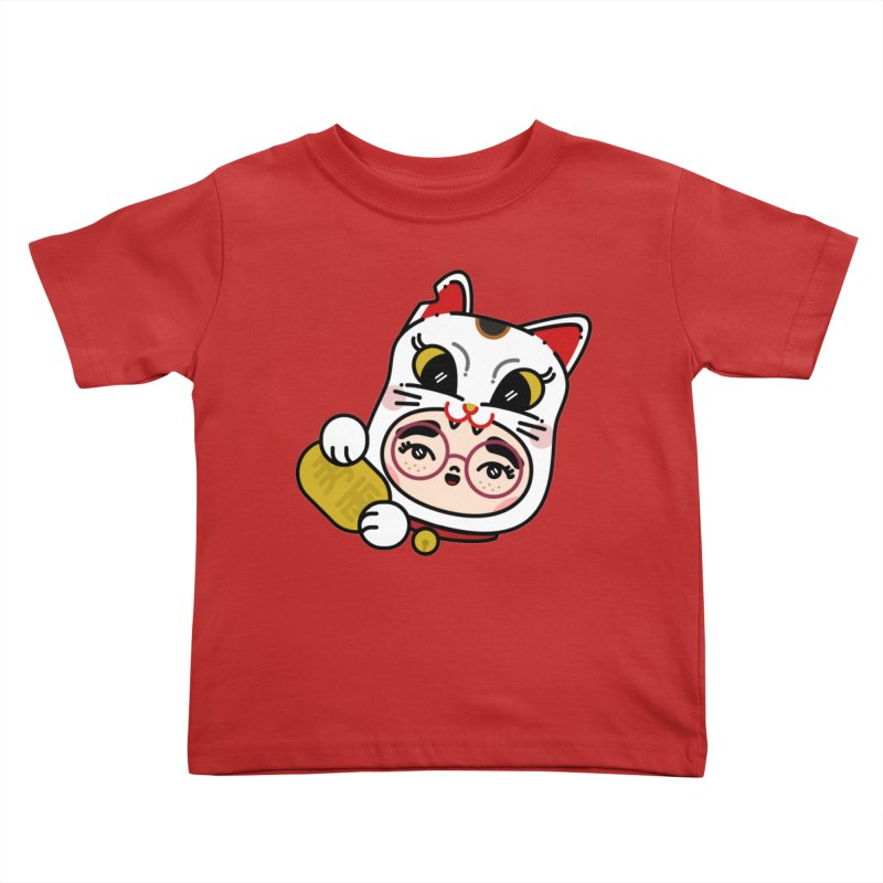 Lucky cat Kids Toddler T-Shirt by Cristóbal Urrea