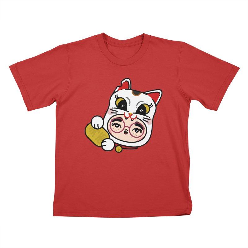 Lucky cat Kids T-Shirt by Cristóbal Urrea