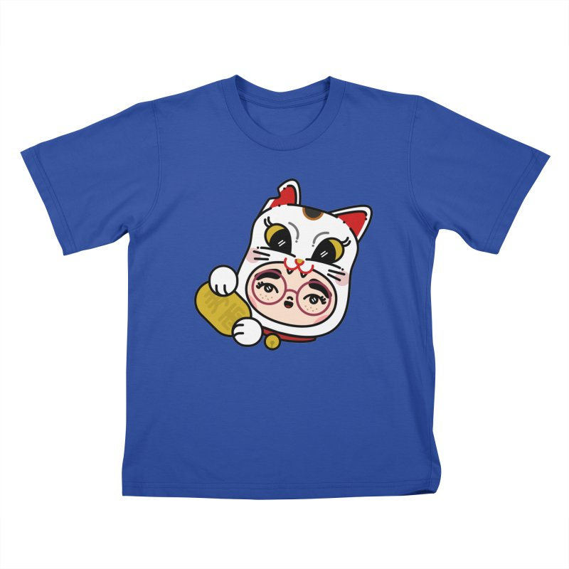 Lucky cat Kids T-Shirt by Cristóbal Urrea
