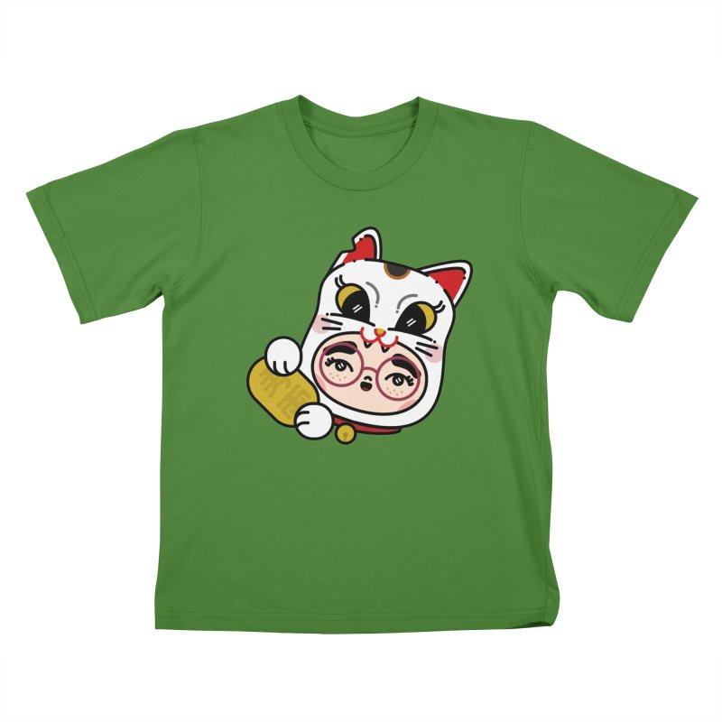 Lucky cat Kids T-Shirt by 3lw's Artist Shop