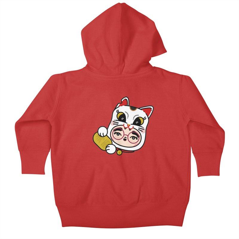 Lucky cat Kids Baby Zip-Up Hoody by 3lw's Artist Shop