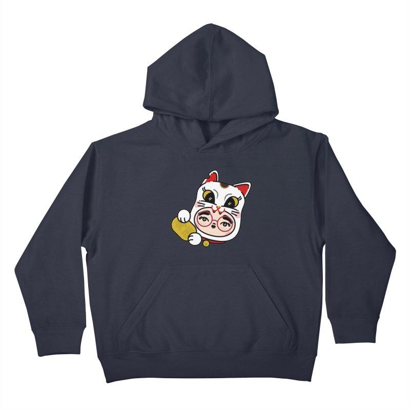 Lucky cat Kids Pullover Hoody by 3lw's Artist Shop