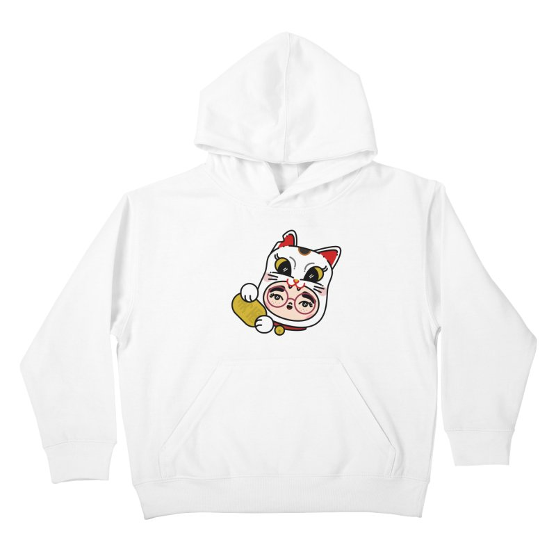Lucky cat Kids Pullover Hoody by 3lw's Artist Shop
