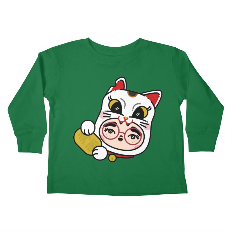 Lucky cat Kids Toddler Longsleeve T-Shirt by 3lw's Artist Shop