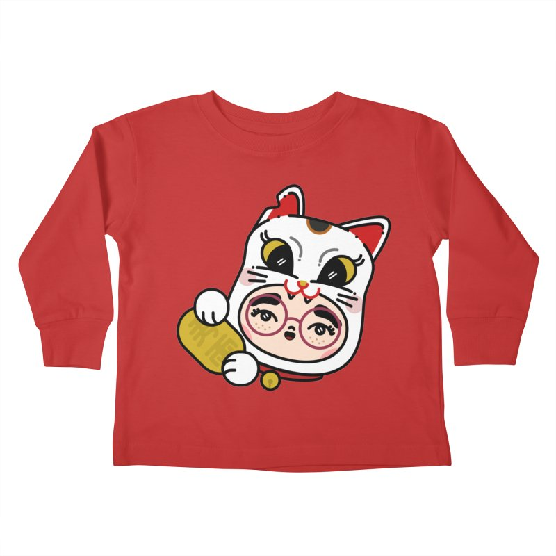 Lucky cat Kids Toddler Longsleeve T-Shirt by Cristóbal Urrea