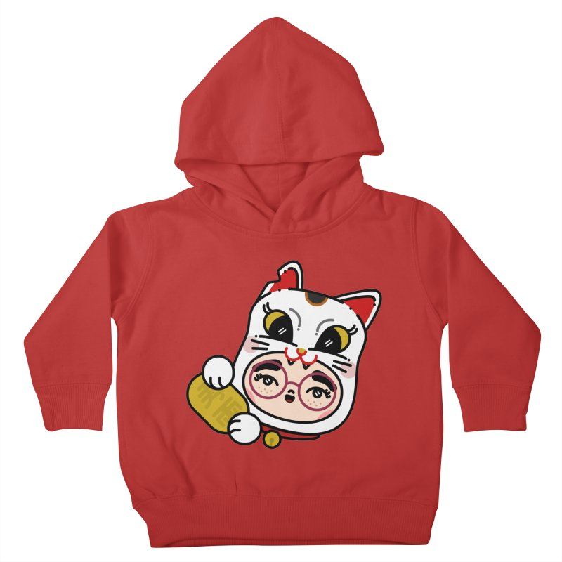 Lucky cat Kids Toddler Pullover Hoody by 3lw's Artist Shop