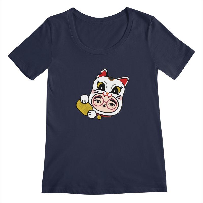 Lucky cat Women's Scoopneck by 3lw's Artist Shop