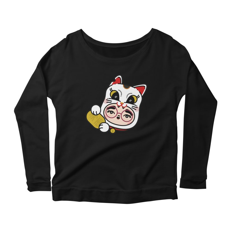 Lucky cat Women's Scoop Neck Longsleeve T-Shirt by Cristóbal Urrea