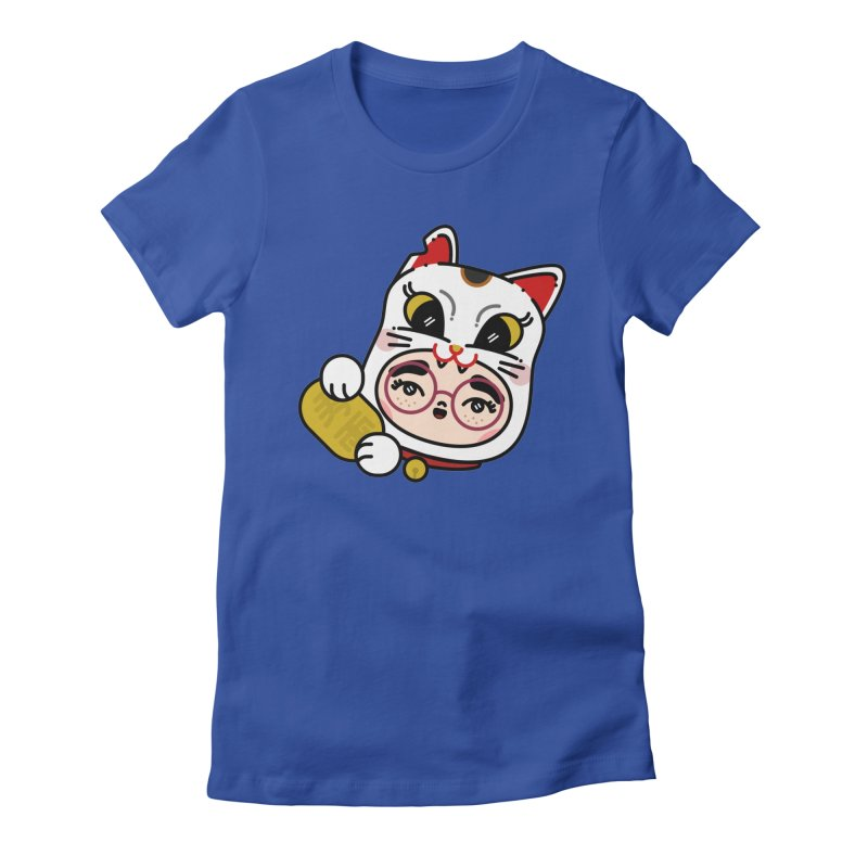 Lucky cat Women's Fitted T-Shirt by Cristóbal Urrea
