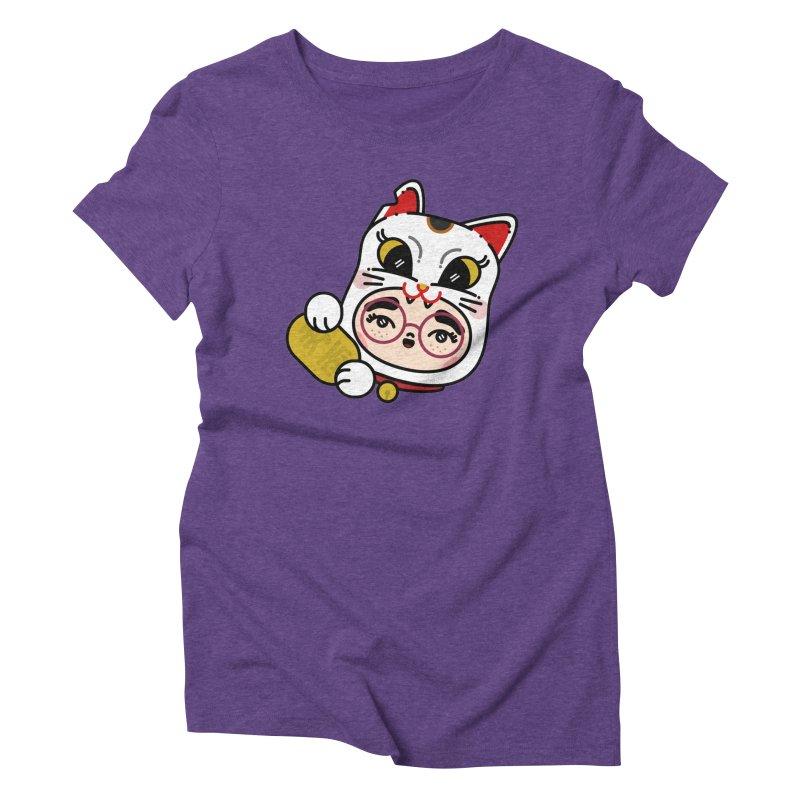 Lucky cat Women's Triblend T-Shirt by Cristóbal Urrea