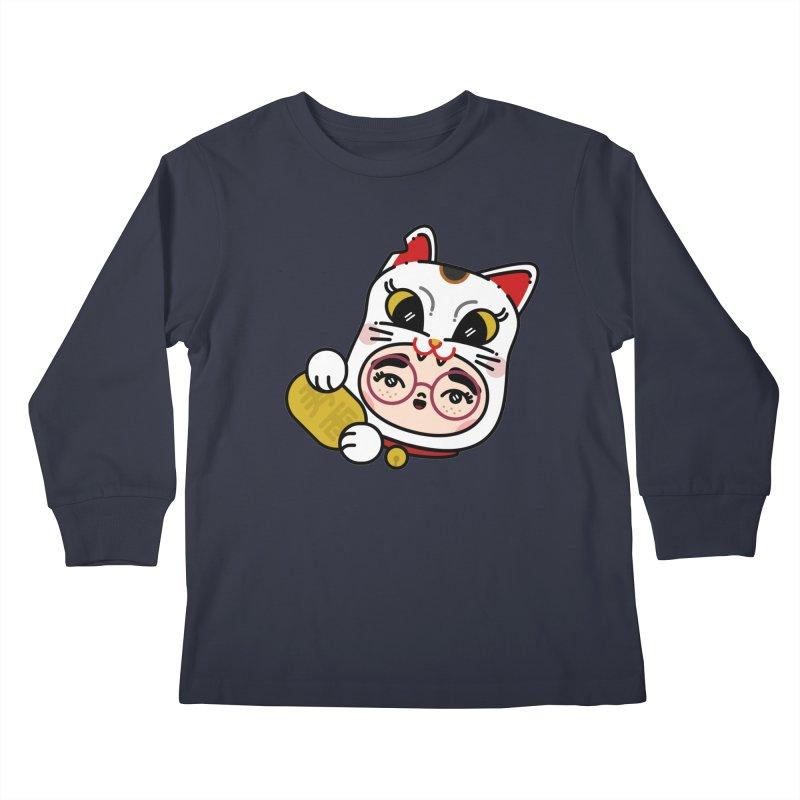 Lucky cat Kids Longsleeve T-Shirt by 3lw's Artist Shop