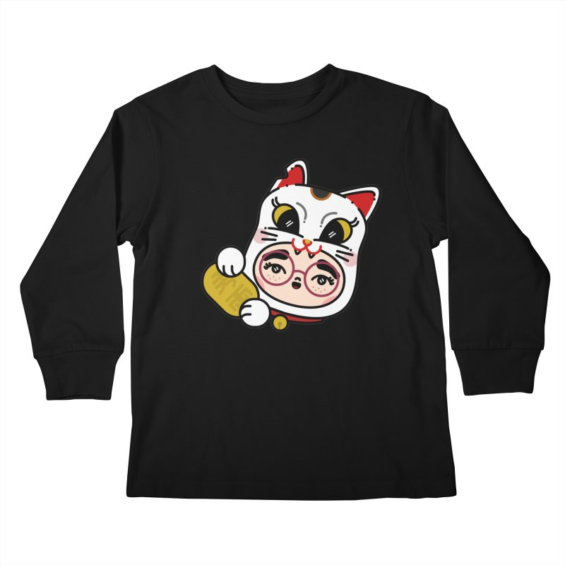 Lucky cat Kids Longsleeve T-Shirt by 3lw's Artist Shop