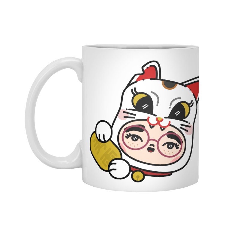 Lucky cat Accessories Standard Mug by Cristóbal Urrea
