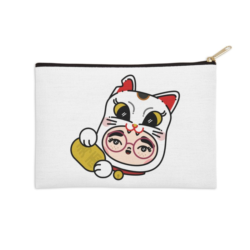 Lucky cat Accessories Zip Pouch by 3lw's Artist Shop
