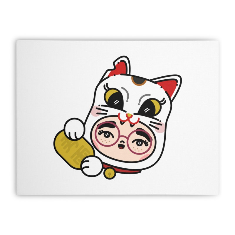 Lucky cat Home Stretched Canvas by Cristóbal Urrea
