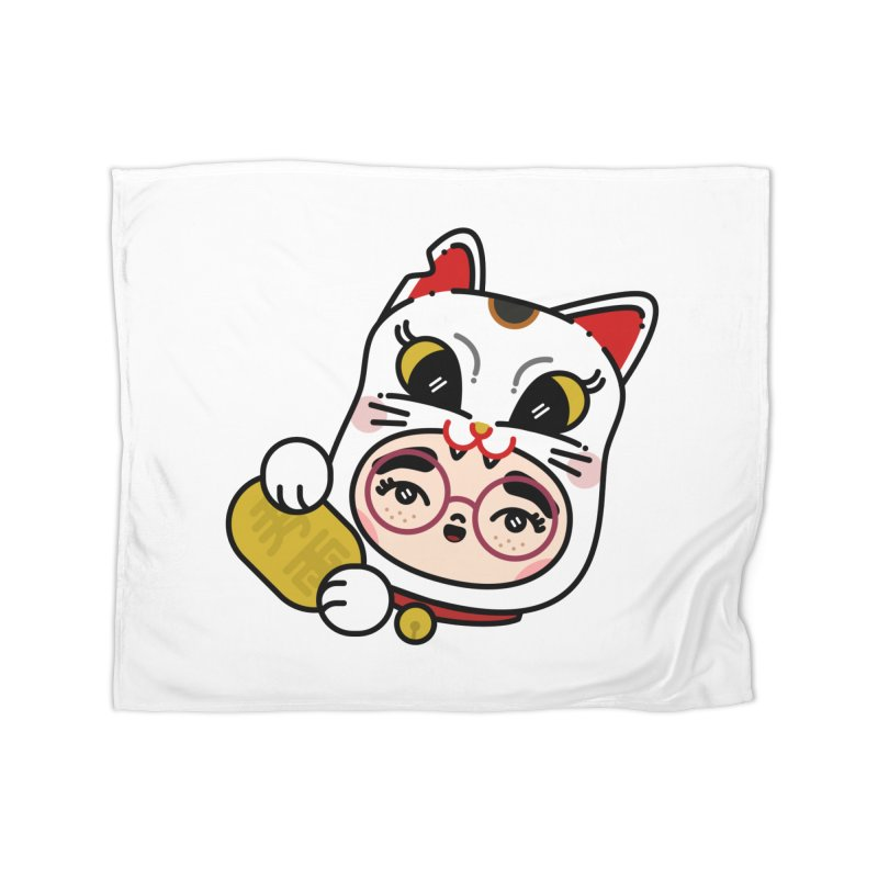 Lucky cat Home Blanket by 3lw's Artist Shop