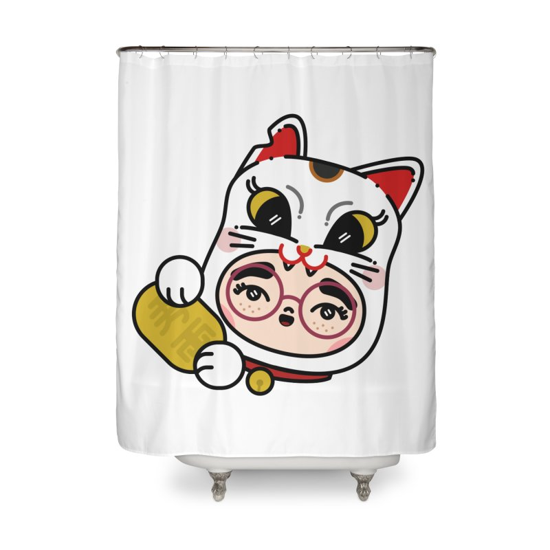 Lucky cat Home Shower Curtain by Cristóbal Urrea