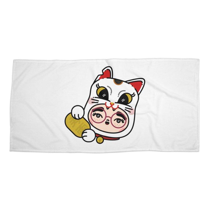 Lucky cat Accessories Beach Towel by 3lw's Artist Shop