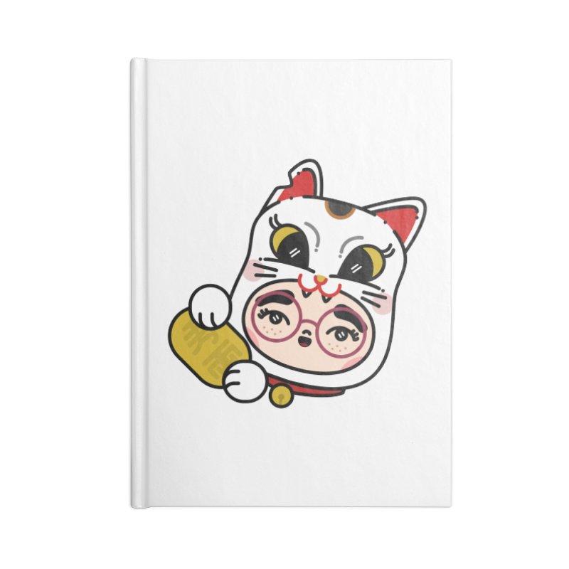 Lucky cat Accessories Lined Journal Notebook by Cristóbal Urrea