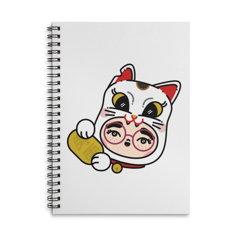 Lucky cat Accessories Lined Spiral Notebook by Cristóbal Urrea