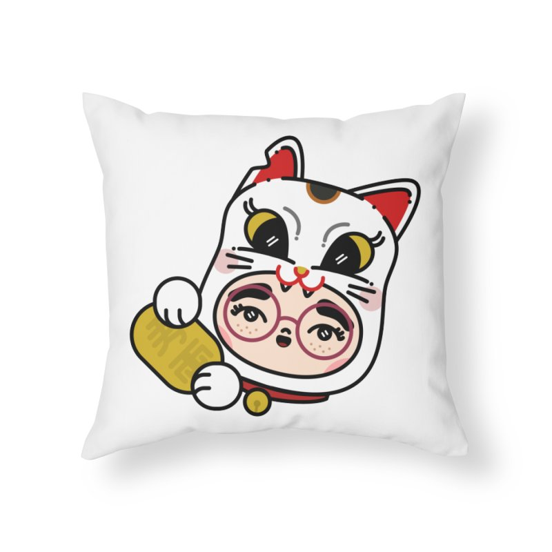 Lucky cat Home Throw Pillow by Cristóbal Urrea