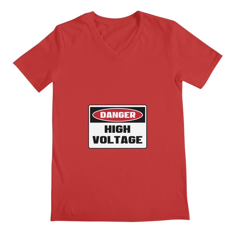 Safety First DANGER! HIGH VOLTAGE by Danger!Danger!™ Men's Regular V-Neck by 3rd World Man