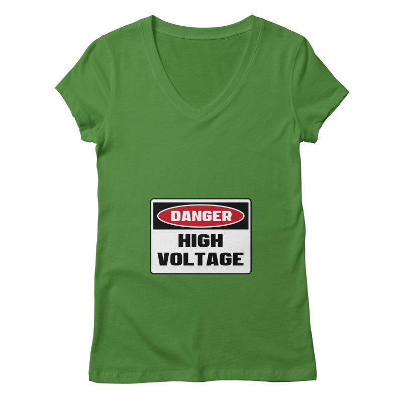 Safety First DANGER! HIGH VOLTAGE by Danger!Danger!™ Women's V-Neck by 3rd World Man