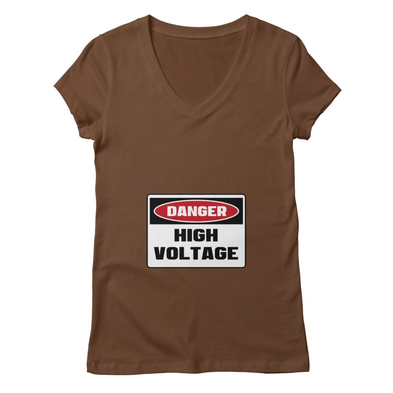 Safety First DANGER! HIGH VOLTAGE by Danger!Danger!™ Women's V-Neck by 3rd World Man