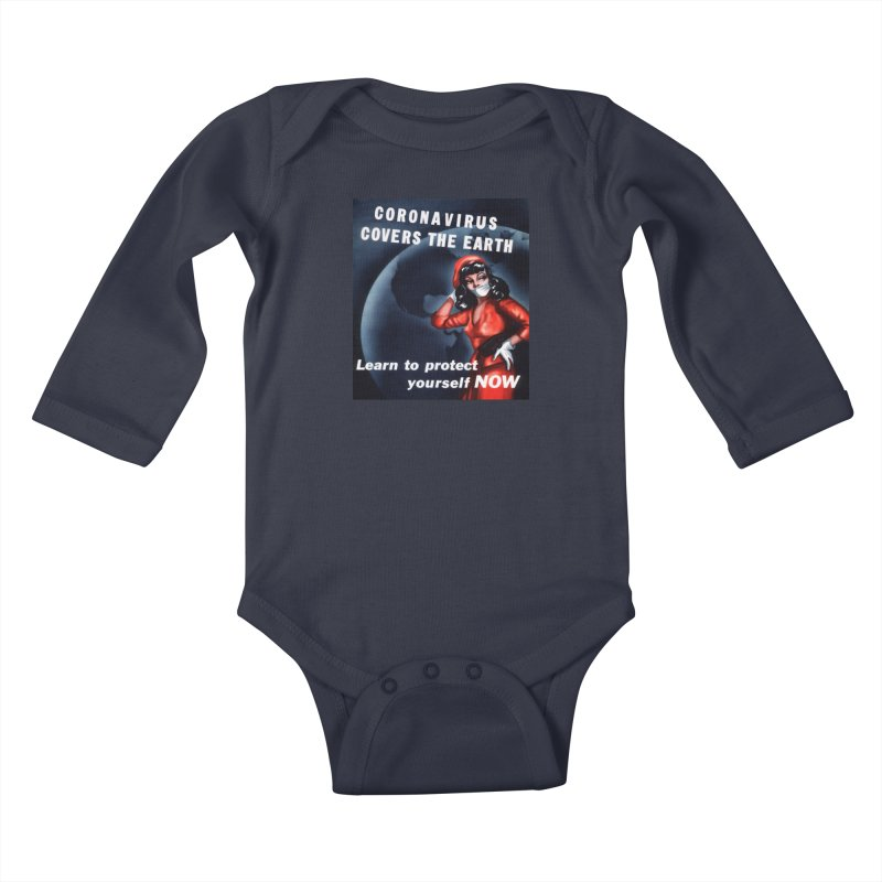 """""""Coronavirus Covers The Earth – Learn To Protect Yourself Now"""" by dontpanicattack!™ Kids Baby Longsleeve Bodysuit by 3rd World Man"""