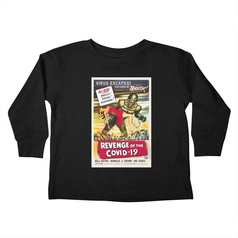 """Revenge Of The Covid-19 – Virus Escapes! City Flees In Terror!"" by dontpanicattack!™ Kids Toddler Longsleeve T-Shirt by 3rd World Man"