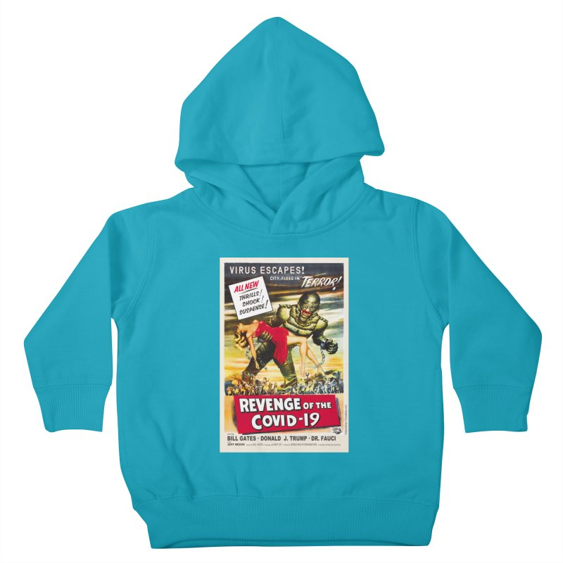 """""""Revenge Of The Covid-19 – Virus Escapes! City Flees In Terror!"""" by dontpanicattack!™ Kids Toddler Pullover Hoody by 3rd World Man"""
